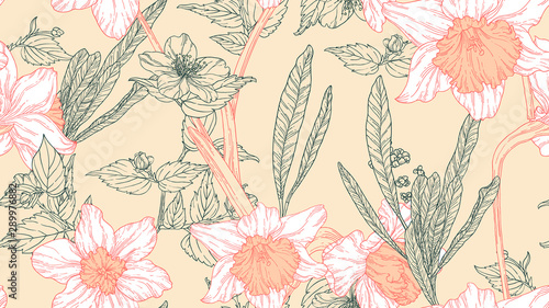 Floral seamless pattern, daffodil flowers with leaves in white and light orange line art ink drawing on light brown