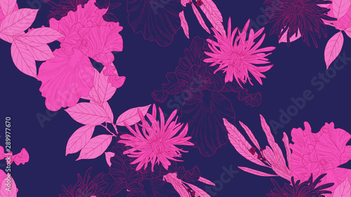Floral seamless pattern, daffodil, iris and chrysanthemum morifolium flowers with leaves in pink line art ink drawing on dark purple