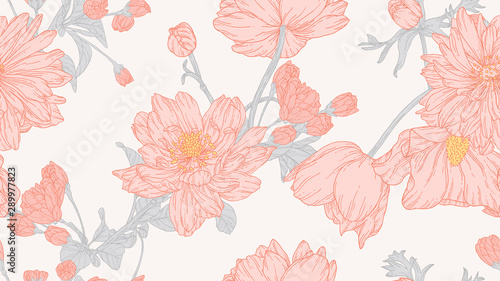 Floral seamless pattern, anemone and sakura flowers with leaves in light red lin Wallpaper Mural