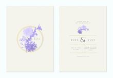 Minimalist Floral Wedding Invitation Card Template Design, Sakura And Chrysanthemum Flowers Line Art Ink Drawing In Purple On Light Brown, Pastel Vintage Theme