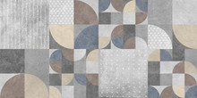 Abstract Geometric Retro Background, Modern Wallpaper Design, Cement Texture,Ceramic Kitchen Or Bathroom Wall Tile