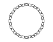 Realistic Metal Circle Frame Chain Texture. Silver Color Round Chains Link Isolated On White Background. Strong Iron Chainlet Solid Three Dimensional Design Element.