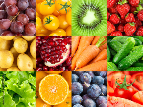 Poster Cuisine Background of fruits and vegetables