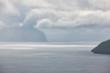 Stormy weather on Faroe islands and atlantic ocean