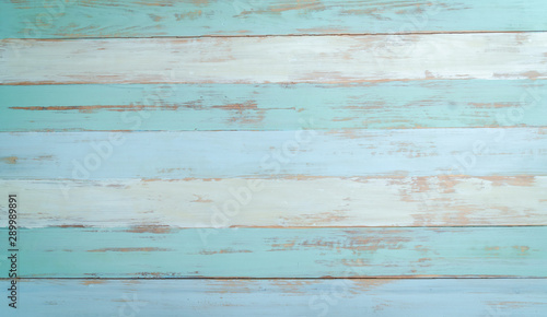 vintage beach wood background - old blue color wooden plank - 289989891
