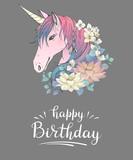 Happy Birthday. Unicorn with flowers