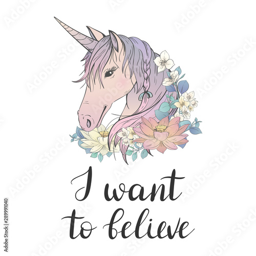 I want to believe. Unicorn with flowers Wallpaper Mural