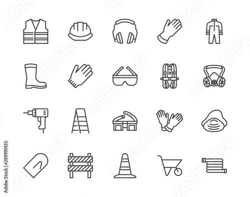 Fotografia  Safety equipment, required PPE flat line icons set