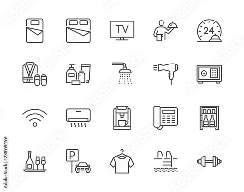 Cuadros en Lienzo Hotel room facilities flat line icons set