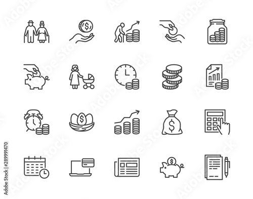 Obraz Retirement plan flat line icons set. Pension payment, money deposit, investment fund balance sheet inheritance vector illustration. Outline signs senior savings. Pixel perfect 64x64. Editable Strokes - fototapety do salonu
