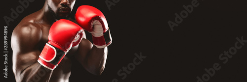 Cropped image of black boxer showing defending pose Wallpaper Mural
