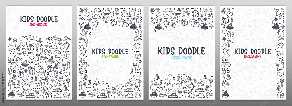 Fototapeta Set of Hand draw Kids doodle backgrounds. Objects from a child's life.