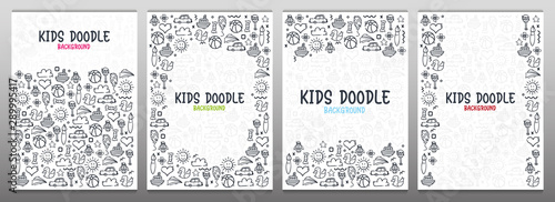 Set of Hand draw Kids doodle backgrounds. Objects from a child's life.