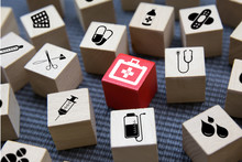 Health Care And Medical Icons Concept On Wooden Blocks To