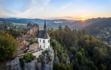 Aerial View Of Ruin Of Vranov Castle Built On The Steep Rock Cliff In Mala Skala, Czechia