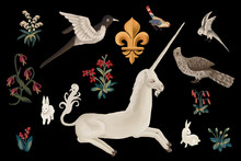 Drawn Clip Art Unicorn And Birds Set In Medieval Tapestries Style On Black Background