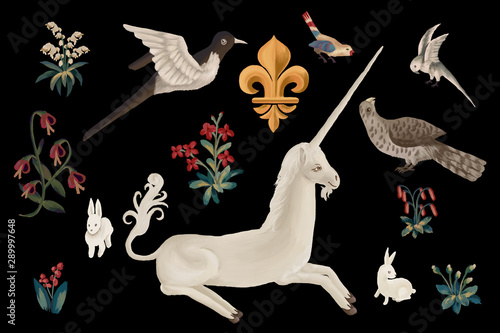 Drawn clip art unicorn and birds set in medieval tapestries style on black backg Fototapet
