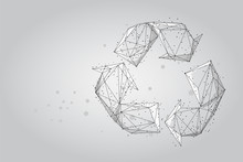 Abstract Mash Line And Point Recycle Sign. Abstract Low-poly Wireframe Save World Ecology Vector Illustration