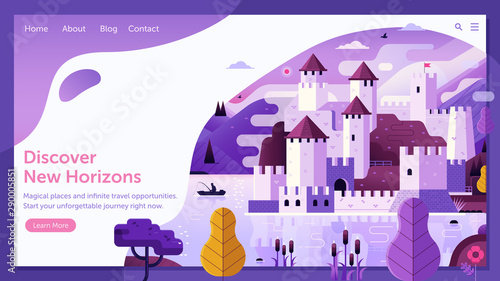 Vászonkép Traveling Web Site with Medieval Castle on Lake