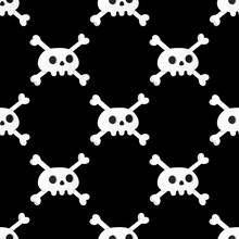 Seamless Pattern With White Skulls And Crossing Bones Isolated On Black Background Flat Style Design Vector Illustration.