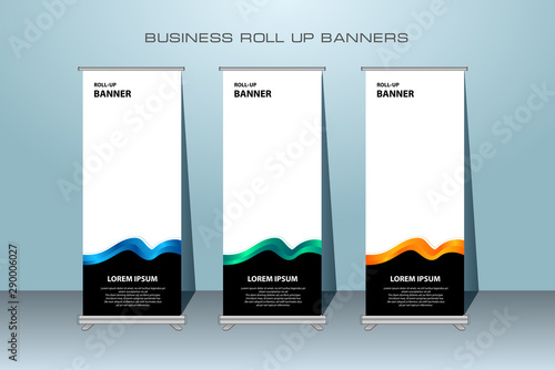 Creative Roll Up Banner Stand Template Design Vertical