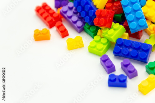 cube toy brick blocks on white background . Poster Mural XXL