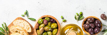 Olives, Ciabatta And Olive Oil...