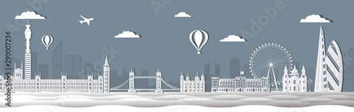 Stampa su Tela  Panorama of world famous landmarks of London, England in paper cut style vector illustration