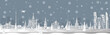 Panorama of winter Moscow vector illustration. Moscow architecture. Cartoon Russia symbols and objects. Panorama postcard and travel poster of world famous landmarks of Moscow in paper cut style.