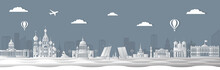 Panorama Of Saint Petersburg Paper Art Style Vector Illustration. Petersburg Architecture. Panorama Travel Poster Of Top World Famous Symbol Of Russia In Paper Cut Style Vector Illustration.