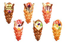 Watercolor Set Of Sweet Bubble Waffles With Whipped And Ice Cream And Fresh Fruits