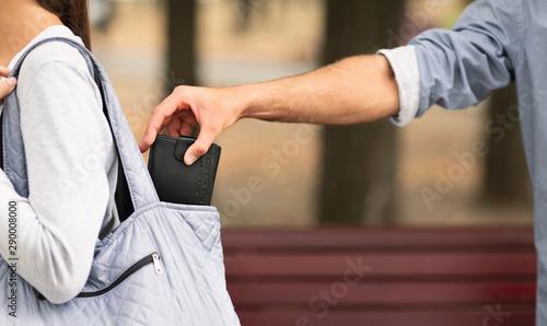 Fotomural  Pickpocket thief stealing wallet from woman handbag