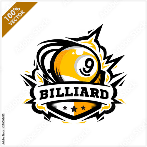 Billiard 9 ball swoosh badge logo vector Fototapete