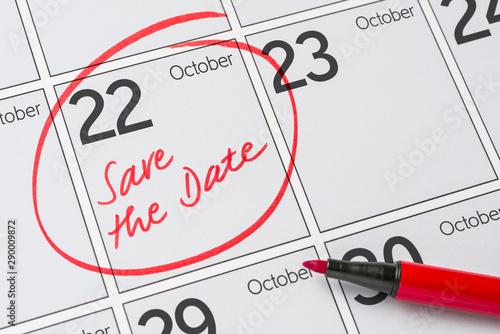 Papel de parede  Save the Date written on a calendar - October 22