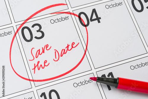 Fényképezés  Save the Date written on a calendar - October 3