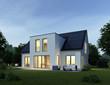 canvas print picture - Haus modern am Abend