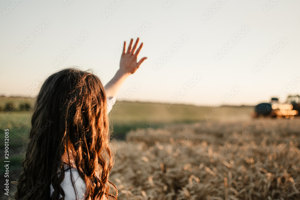 Fototapeta Young woman standing back on field and waving hand to a tractor driver in sunset.