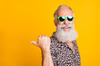 Leinwanddruck Bild - Portrait of crazy bearded old man point at copyspace reccomend promo ads feel funny funky wearing leopard shirt green eyeglasses eyewear isolated over yellow background