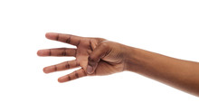 Female Hand Showing Number Four With Fingers On White Background