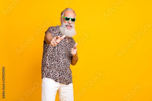 Fototapeta Portrait of crazy retired funny long bearded old man in eyewear eyeglasses brand
