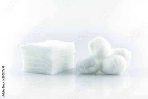 cotton ball and pad white soft clean beauty health medicine on white background.