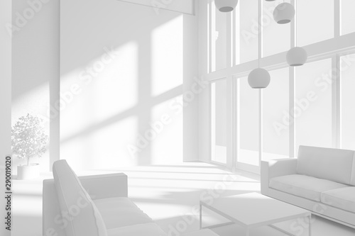 Photo  White living room in a modern house with sofas and beautiful shadows from the sun