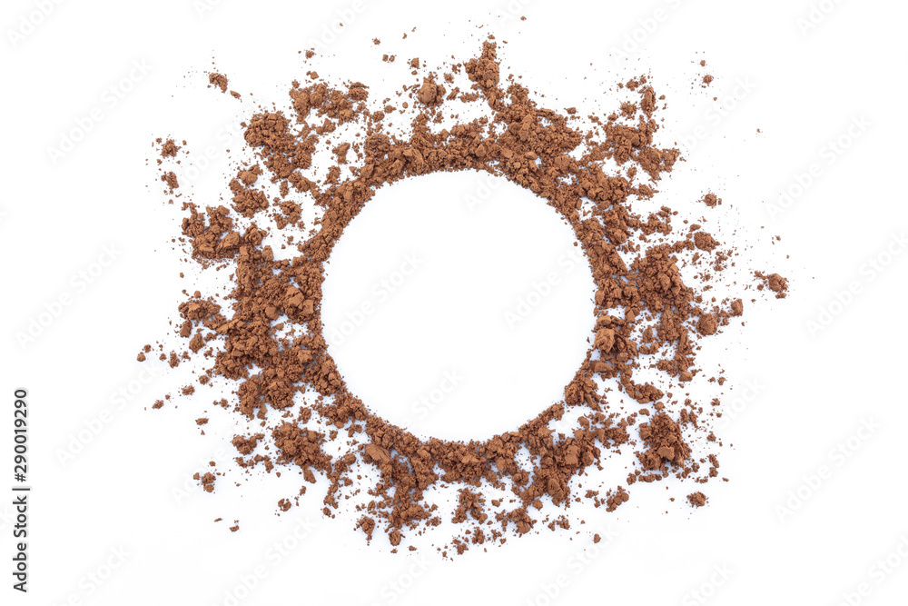 Fototapety, obrazy: cocoa powder circle space on white background.