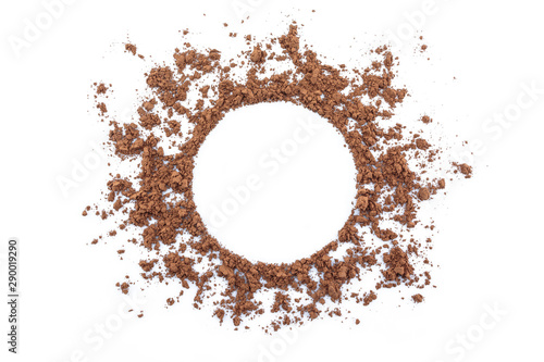 Fotomural  cocoa powder circle space on white background.