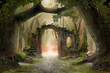 Leinwandbild Motiv Archway in an enchanted fairy forest landscape, misty dark mood, can be used as background