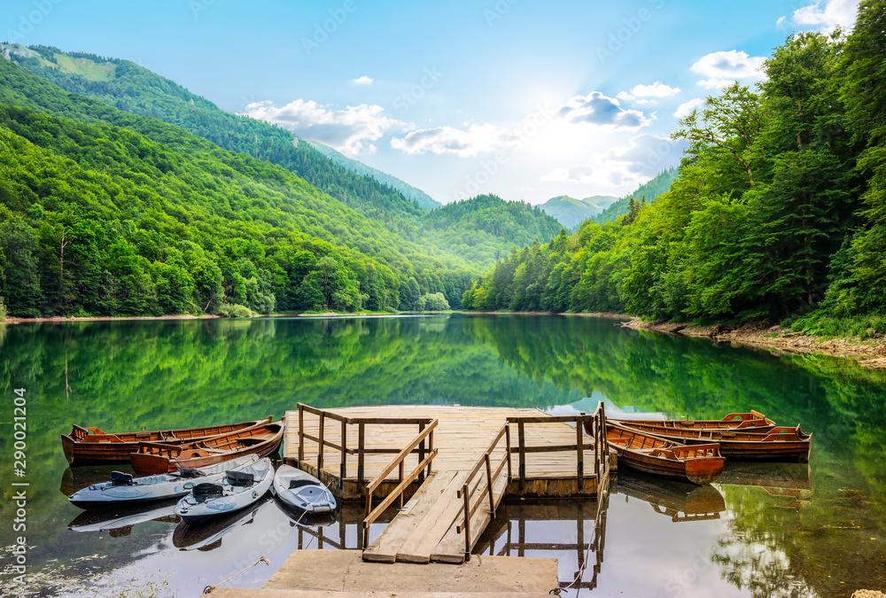 Fototapeta Boats on Biogradska Lake