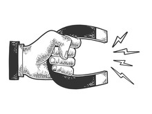 Hand With Magnet Sketch Engrav...