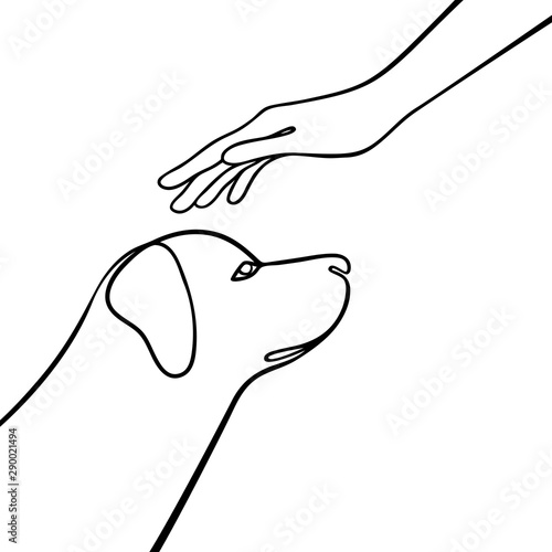 Pinturas sobre lienzo  Outline vector composition with dog and hand