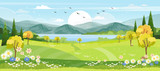 Widok panoramiczny wioski wiosennej z zieloną łąką na wzgórzach z błękitnym niebem, kreskówka wektor wiosna lub lato krajobraz wsi z górami z polami dzikich kwiatów