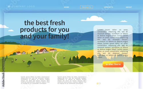 Garden Poster Blue Vector landing page design template with beautiful flat countryside village farm landscape illustration. Special offer, discount banner concept. For dairy product, farming, market advertisement.